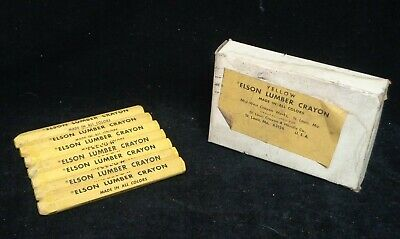 Elson Lumber Crayons * Yellow * Lot Of 7 * New Old Stock