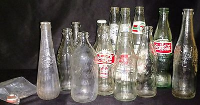 Vintage Soda Bottles Lot Of 13 As Found Condition Barn Find