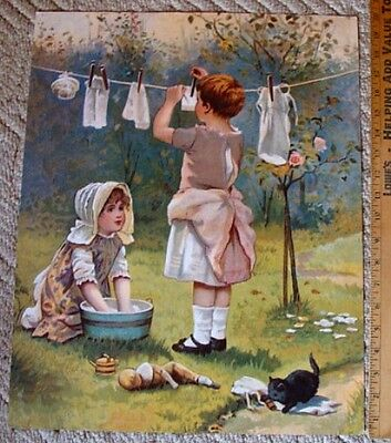 2 Young Girls Hanging Up Doll Clothes Washing on Clothesline & Kitten Print No R