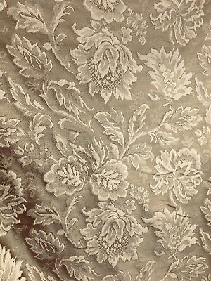 Taupe Brown Floral Upholstery Drapery Brocade Fabric 60 In Sold