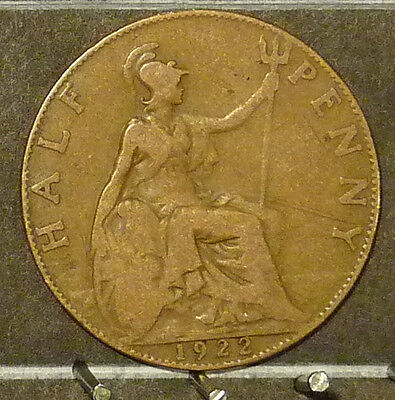 1922 Great Britain Half Penny  Coin     F94