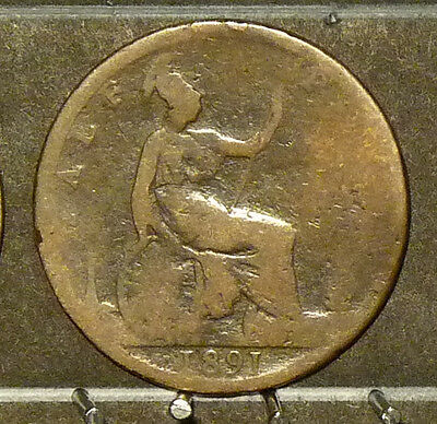 1891 Great Britain Half Penny  Coin     F63