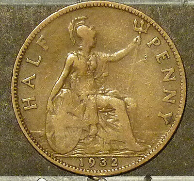 1932 Great Britain Half Penny  Coin     F92