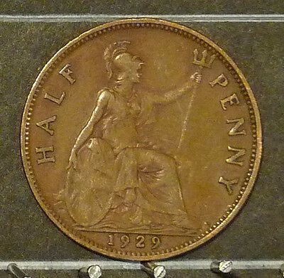 1929 Great Britain Half Penny  Coin     F111