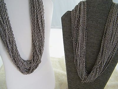 "(60) Silver Tone Chain Necklaces ~ 24"" Large / Small Chains"