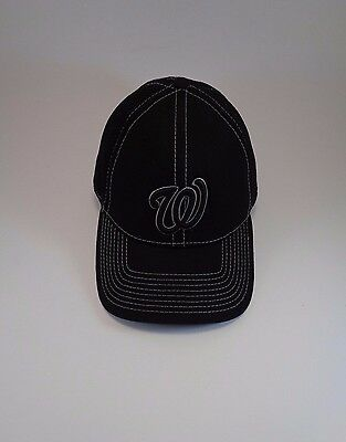 5afde9dfeb0 Washington Nationals New Era 39THIRTY MLB Black Baseball Cap Hat MEN  MED-LARGE