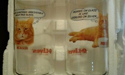 Two Vintage 9 Lives Morris the Cat Glasses in Original Packing Never Used