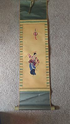 Vintage oriental scroll wall hanging japanese chinese