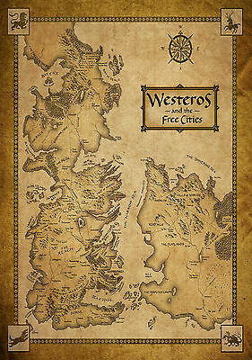 A3 Size - Game Of Thrones Houses Map Westeros WORLD MAP Art wall chart posters