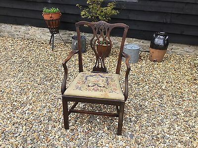 Georgian Mahogany Chippendale Period Armchair Library Dining Side Chair Carved