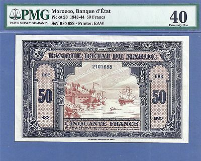 PMG-40 XF Morocco 50 Francs P-26  1-8-(19)43