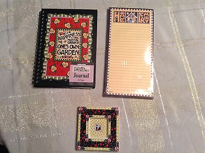 Mary Engelbreit Lot Cherries Picture Frame Journal Note Pad Lot of 3 Vintage