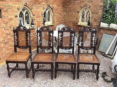 Gothic Revival Medieval Carved Oak Chairs set x4