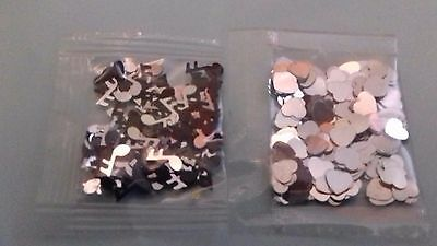 Small bags music note & heart sequins for festivals card making silver black