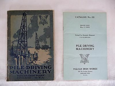 Vulcan Iron Works Chicago Catalog, Price Guide # 52 1925 PILE DRIVING MACHINERY