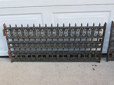 Antique Pair Cast Iron Architectural Salvaged Ornate Window Guards Grille Grates