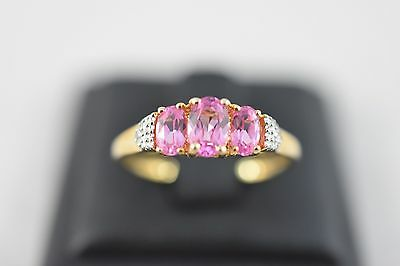 Ring Ladies 9ct Yellow Gold Pink Sapphire And Diamond Dress Ring