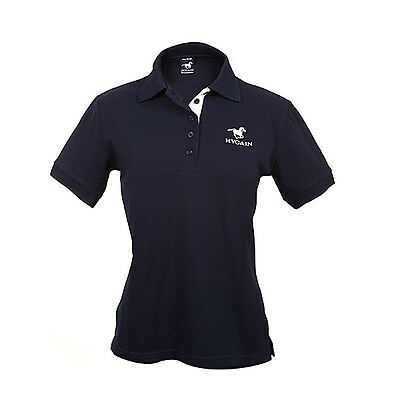 HYGAIN Womens Ladies Polo T Shirt Short Sleeve Horse Riding Navy