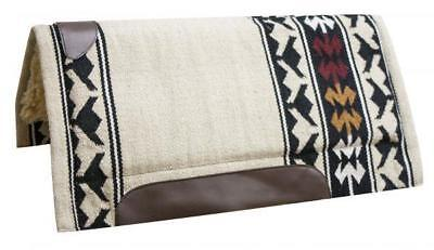 """SHOWMAN 32""""x34"""" CREAM Cutter Style Saddle Pad with Wool Top and Fleece Bottom!"""