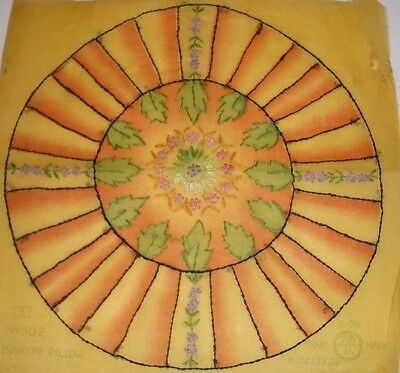 VINTAGE  BOUDOIR EMBROIDERED PILLOW  Round Unfinshed  Sheer Yellow Orange Floral