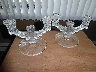 Pair Of Clear Glass Double Candelabras Candle Sticks Beautiful