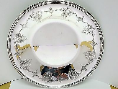 """Singed """"M"""" Matthews & Co. Sterling Silver 10'In Floral Fruit Plate Bowl Tray 174"""
