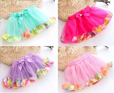 Lovely Baby Kids Girls Princess Tutu Bow Petals Tulle Skirt Party Dress chun