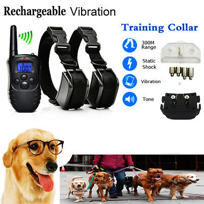 Pet Dog Training Collar Rechargeable Electric LCD 100LV Shock  (Two Collars) SP