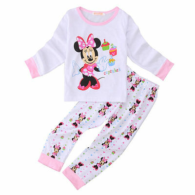 Cute Mickey Sleepwear Baby Kids Baby Girls Cotton Nightwear Pj's Pyjamas set