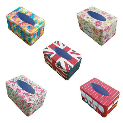 European Home Office Car Room Decor Tin Tissue Box Covers Papers Holder Case