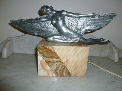 French Art Deco figural nude wing lady lamp 1930