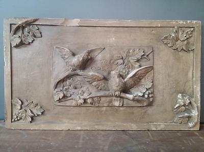 Antique plaster wall plaque with birds 1890