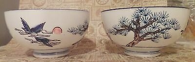 Beautiful Blue Moon Porcelain ASIAN SOUP RICE BOWLS Excellent CRANES & TREES