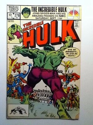"Marvel THE INCREDIBLE HULK V.1 #278 DEC.1982 "" AMNESTY ! """