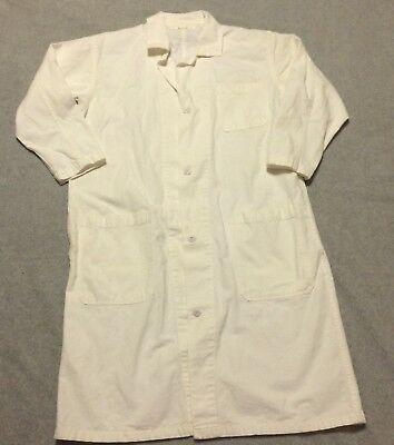 White Lab Coat Large Long Vintage Cotton Costume