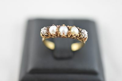 Ring Ladies 18ct Yellow Gold Diamond And Pearl Set Ring