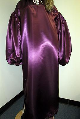 "VINTAGE: SATIN! ""Special"" High Gloss Purple Plum Bridal Satin Balloon Shirt Gown"