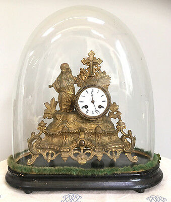 ANTIQUE FRENCH ORMOLU MANTEL CLOCK by Japy Freres With Glass Dome