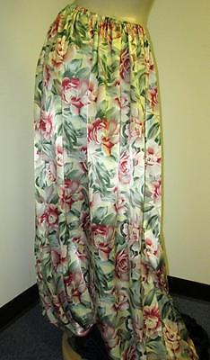 VINTAGE:SATIN!  SUPER WIDE LEG, Shiny Floral Satin Ballooon Pants (XXX-Long)