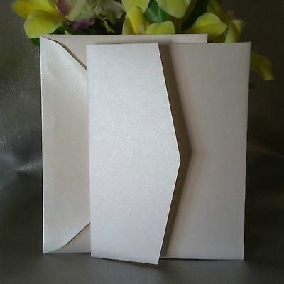 1/10/30/50/60/70/80/100 Pearl Ivory Pocketfold Invitations Wedding Card Envelope