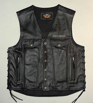 Harley Davidson Piston Style Thick Leather Vest Mens Large Lg  97148-99Vm  #  37