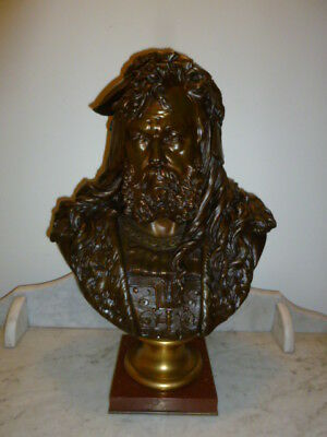 Large bronze bust of a 17th Century man – circa 1890 - signed