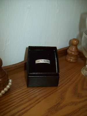 Avon STERLING SILVER  CZ  Band Ring Size 8 New