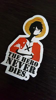 THE HERO NEVER DIES sticker decal laptop car wall unused unstuck quality 4 X 7cm