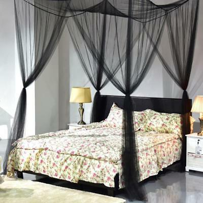 4 Corner Post Bed Canopy Mosquito Net Full Queen King Size Netting Bedding EE
