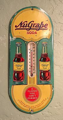 RARE 1930's NuGrape Soda Thermometer Double Bottle Sign - Seldom Offered