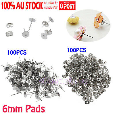 200pcs Earring Stud Posts 6mm Pads & Nut Backs Silvery Steel Surgical DIY Craft