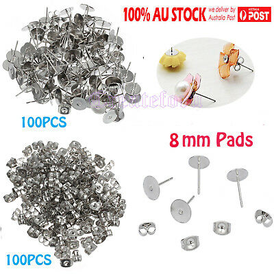200pcs Earring Stud Posts 8mm Pads and backs Steel Hypoallergenic Surgical AU