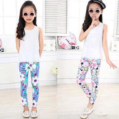 Baby Kids Girls Floral Leggings Pants Flower Printed Elastic Long Trousers 2-14Y
