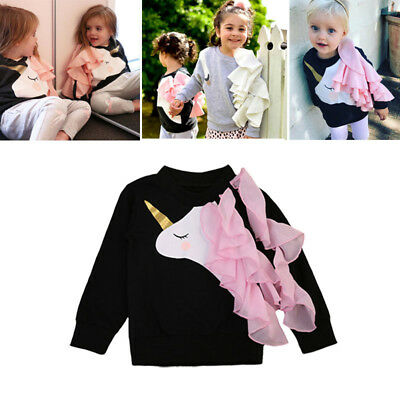 Fashion Baby Girls Unicorn Ruffle Tops Sweatshirts Long Sleeve Clothes Cartoon